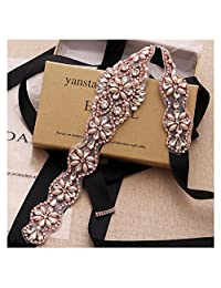 Yanstar Wedding Bridal Belt With Rose Gold Rhinestone Black Ribbon Sashes For Wedding Gown