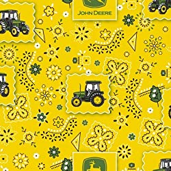 John Deere Bandana Tractor Patch Fabric by The Yard, 43/44-Inch Wide, Yellow