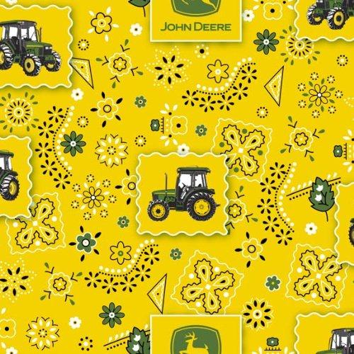 John Deere Bandana Tractor Patch Fabric by The Yard, 43/44-Inch Wide, Yellow