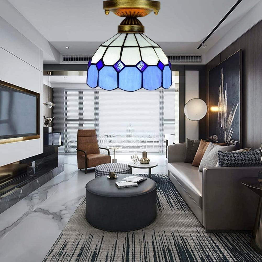 DALUXE Tiffany soffitto, soffitto di Vetro Macchiato Luce della Stanza della Cucina Mediterranea Decorazione Soggiorno,Giallo Blu