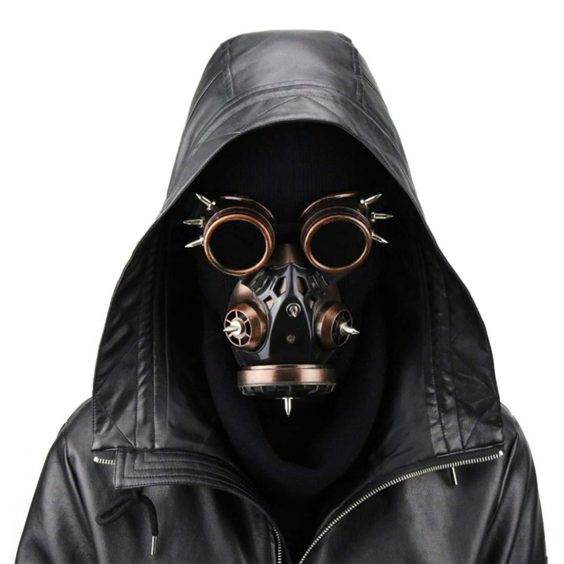 JANFELICIA Biohazard Steampunk Gasmaske Goggles Spikes Skeleton Skeleton Skeleton Krieger Death Mask Masquerade Cosplay Halloween Kostüm Requisiten (Farbe : Style1) 90a4f0