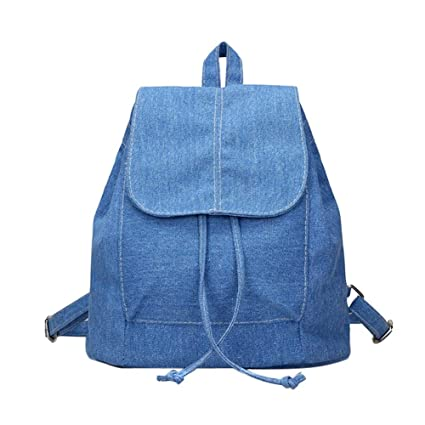Amazon.com: Design Leisure Women Denim Backpacks Drawstring ...