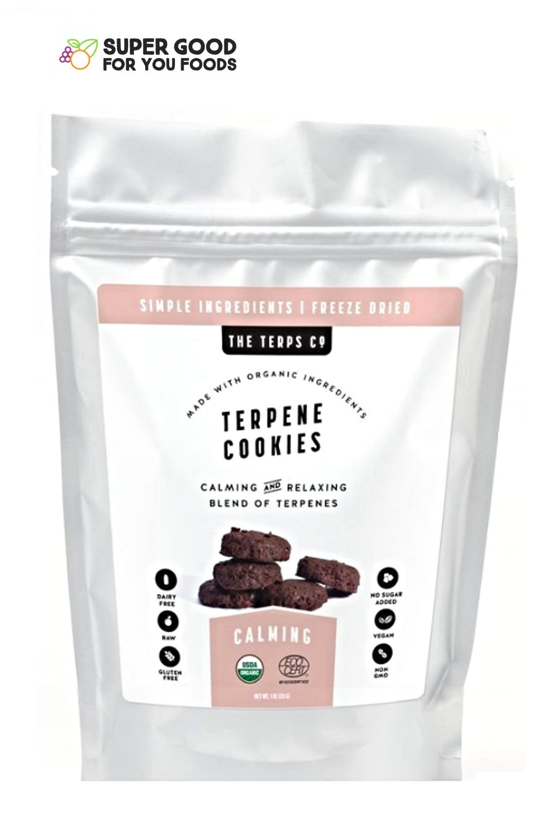 Super Good For You Foods, USDA Organic Freeze Dried Terpene Cookies, Gluten-Free, Non-GMO + Vegan, 1 Ounce Bag by Super Good For You Foods