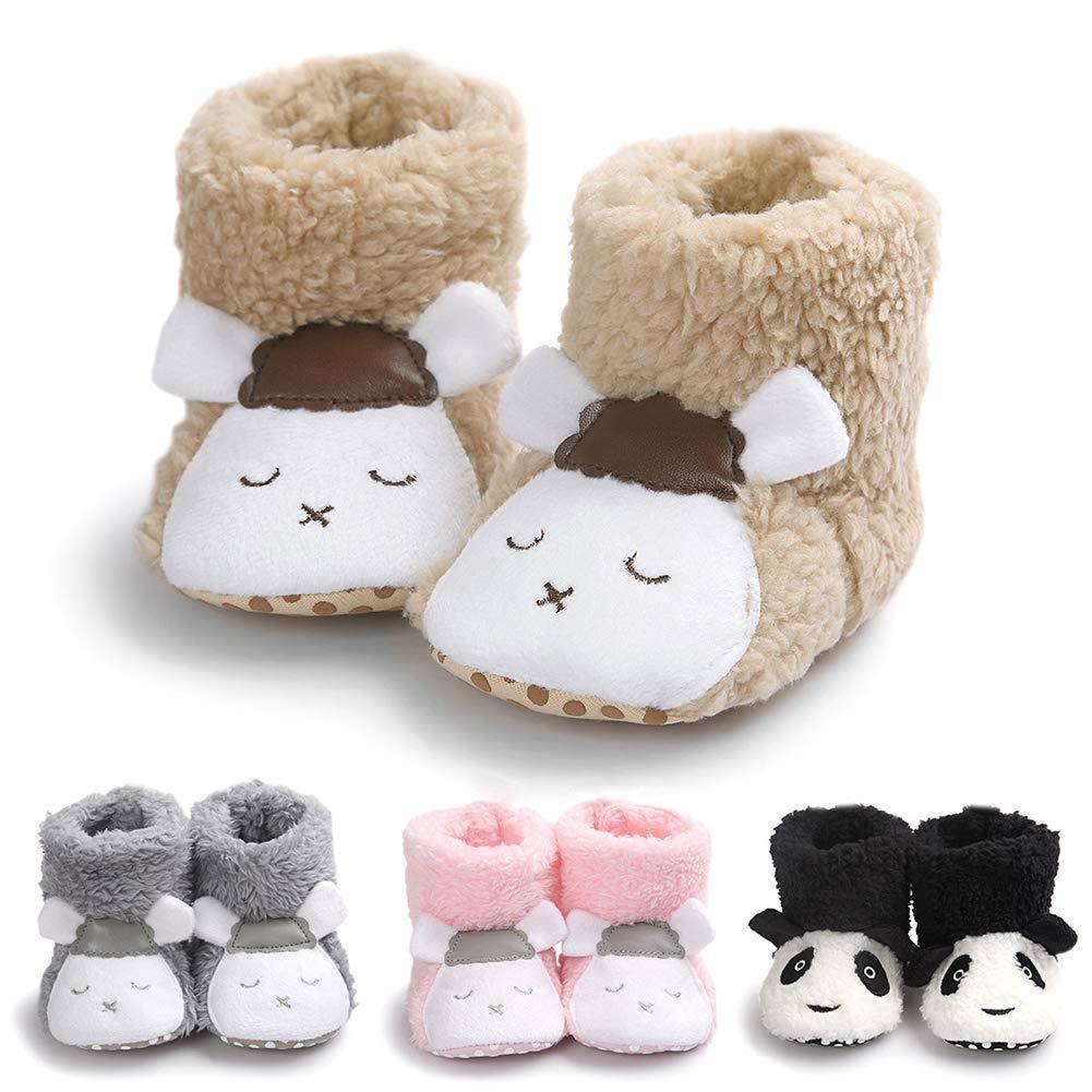Alamana Lovely Sheep//Panda Soft Baby Infant Plush Warm Anti-Slip Prewalker Toddler Shoes Panda Black 13cm