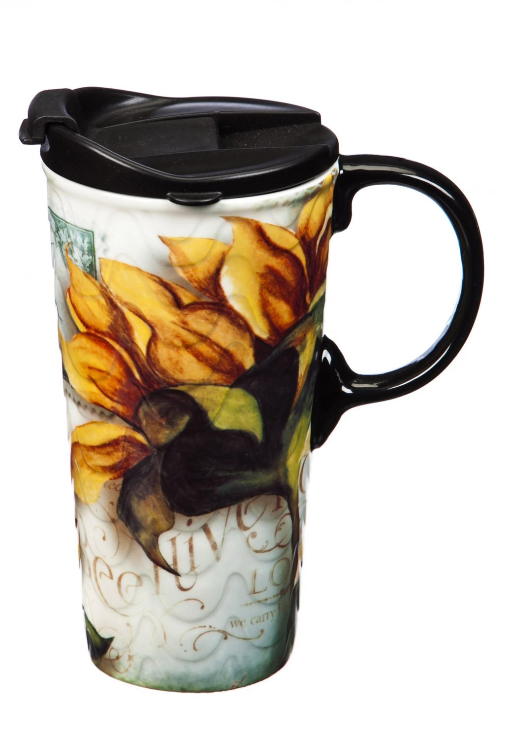 Cypress Home Bee Hive Sunflower Ceramic Travel Coffee Mug with Gift Box, 17 ounces