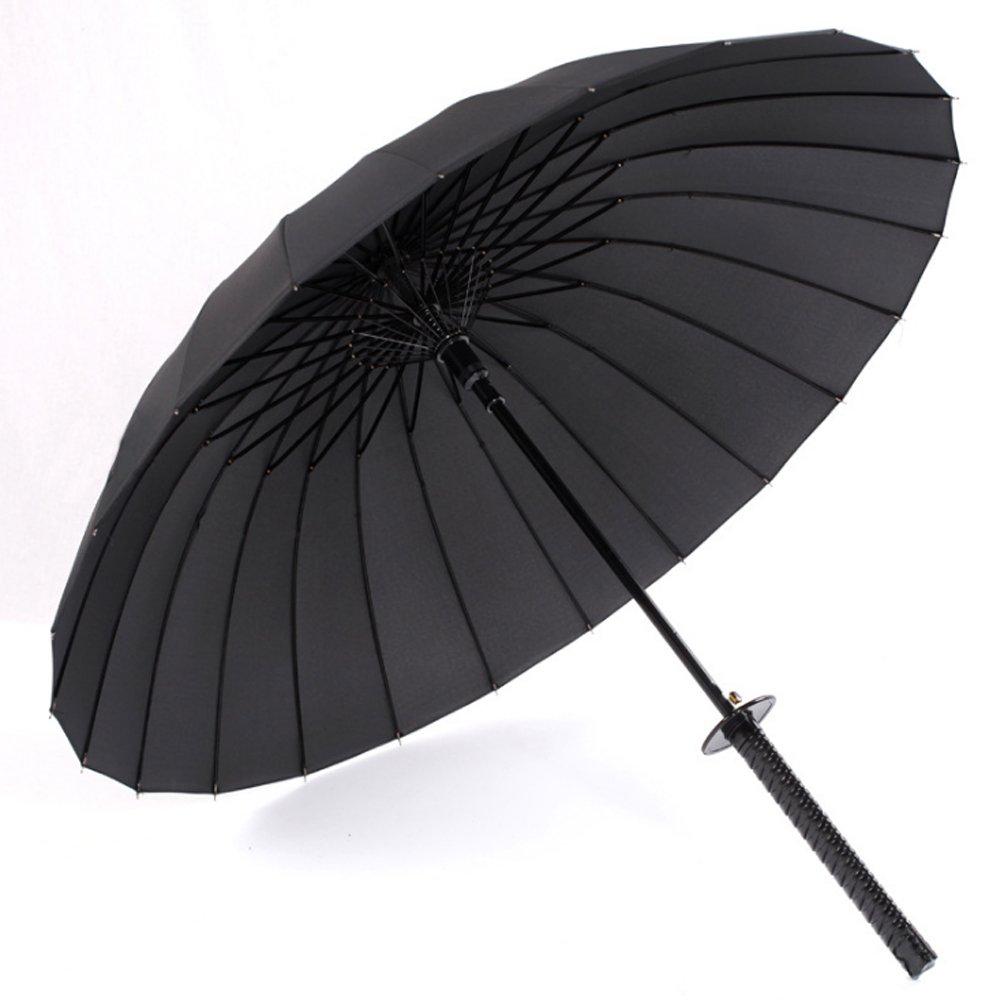 17Rainbow Long Handle Samurai Sword Katana Handle Umbrella Semi-Automatic Pongee Rain Sun Umbrella with 24 Ribs, Black