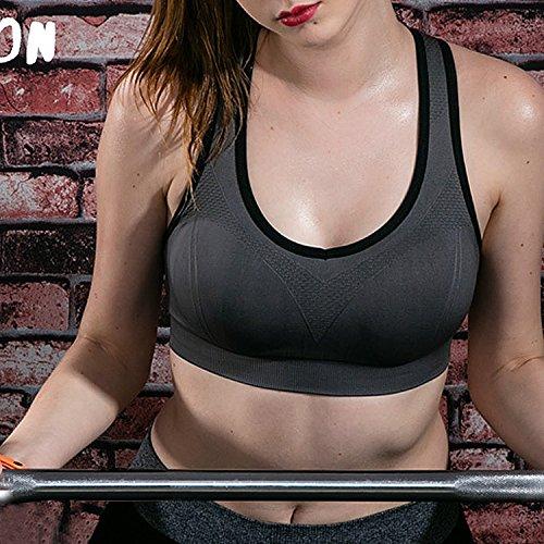 FESMEY Women's High Impact Workout Running Powerback Support Underwire Sports Bra 2 Pack BlackgrayXL