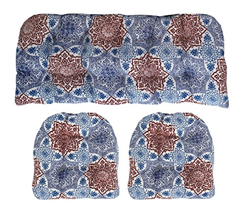 RSH Décor Indoor/Outdoor Wicker cushions Two U-Shape and Loveseat 3 Piece Set Red White and Blue Medallion Scroll (Scroll Fabric Shade)