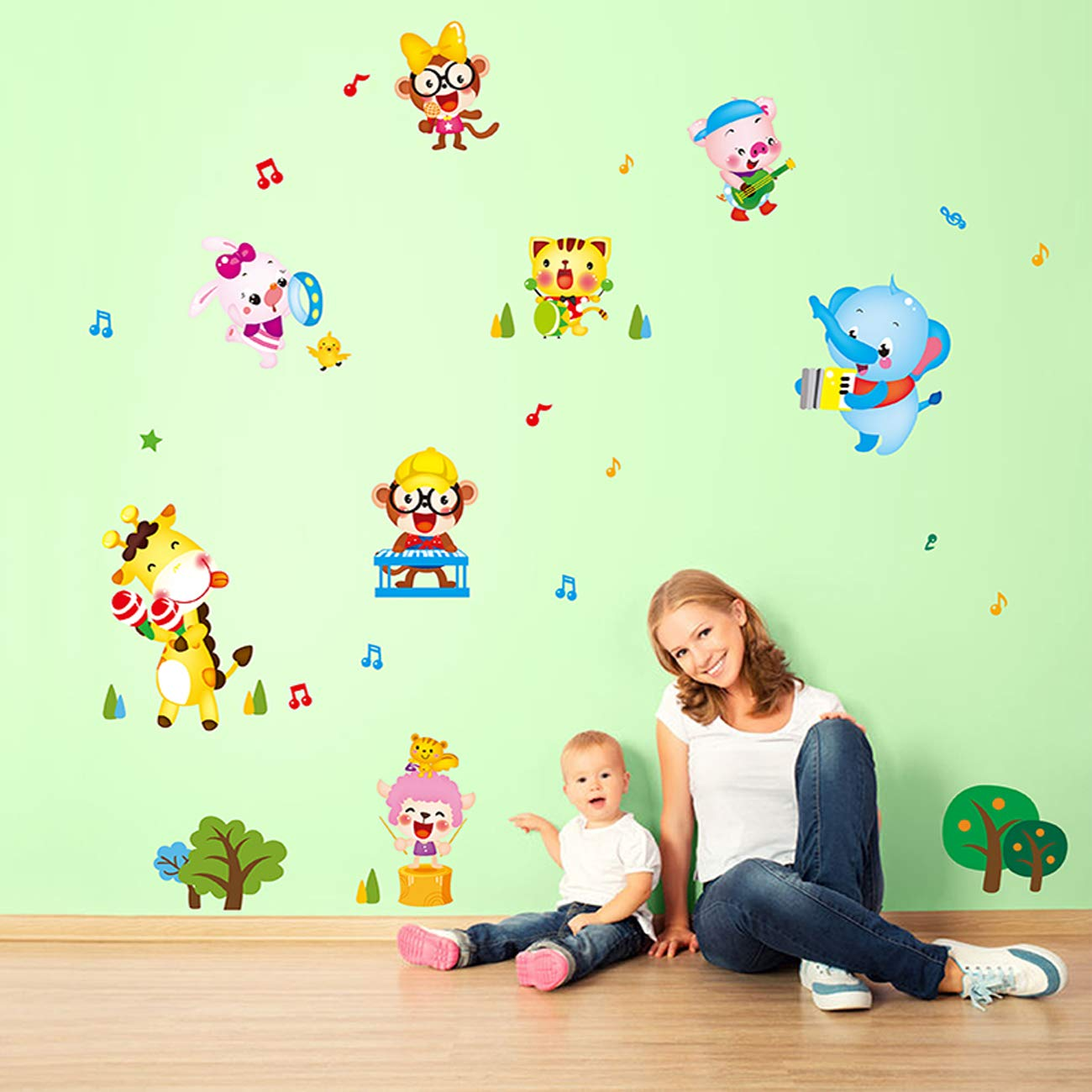 Kids Animal Concert Wall Decals Wall Stickers Peel and Stick Removable Wall Stickers for Kids Nursery Bedroom Living ,Baby Toddler Boys /& Girls Rooms