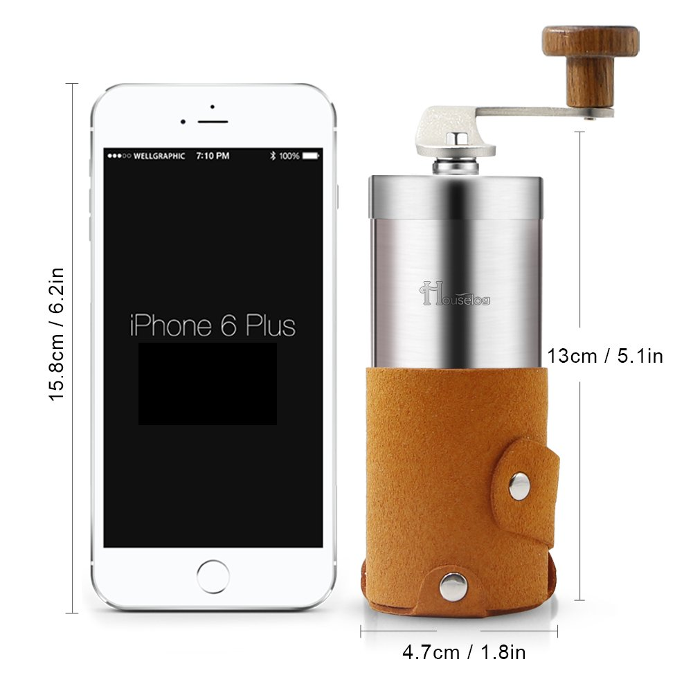 2018 New Portable Manual Coffee Grinder Set Professional Conical Ceramic Burrs Stainless Steel Grinder Easy to Clean for Home Travel Outdoor by RioRand (Image #3)