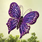 Bits and Pieces - Enameled Metal Purple Butterfly Wall Decor -Wall Décor - Wonderful Dimensional Details ()