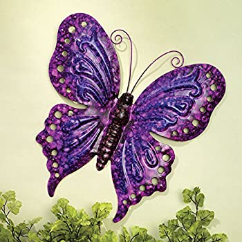Bits and Pieces - Enameled Metal Purple Butterfly Wall Decor -Wall