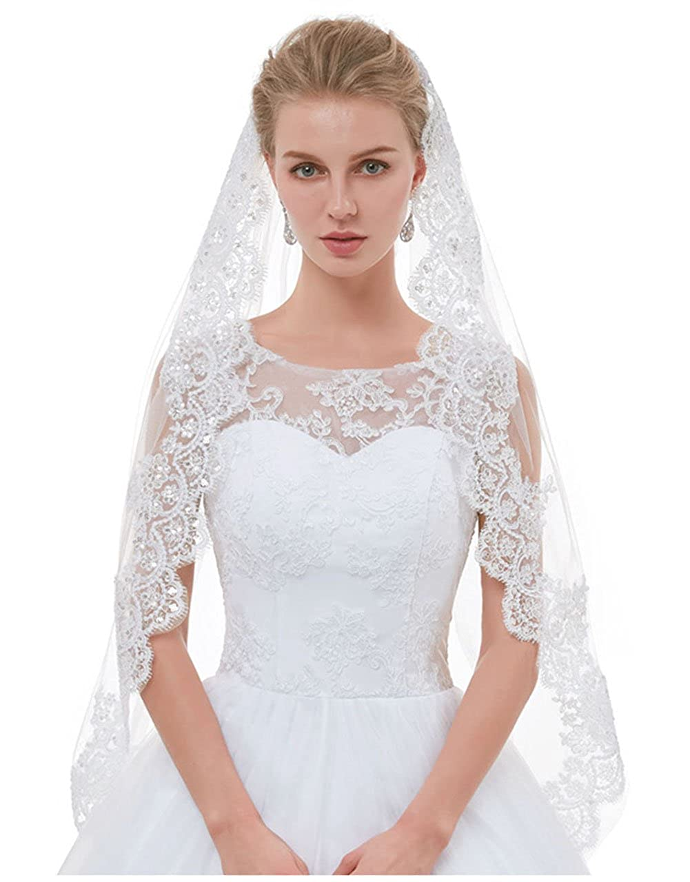 Ivory AIBIYI 1 Tier   2 Tier Lace Fingertip Veils for Brides with Comb ABYV10
