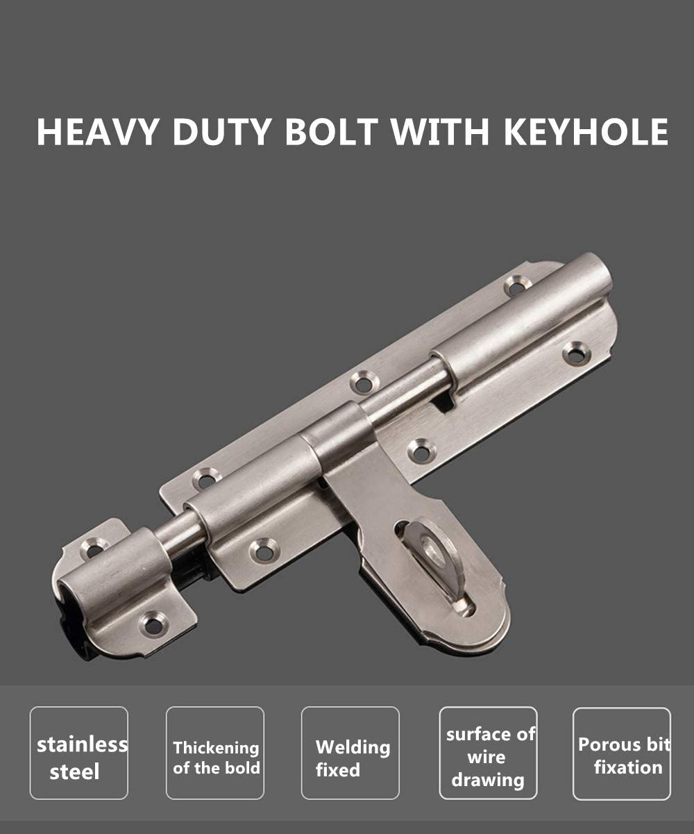2 Pieces Stainless Steel Barrel Bolt Latch Padlock Hasp for Garage Door Gate Security Silver 4 Inch