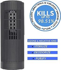 PurifiedO2 Mini Portable Ozone Generator & Ionic Air Purifier with No Filter | Mini Air Ionizer for Car Travel Office Fridge | Bacteria, Mold,Smoke & Odor Eliminator -Dark Grey