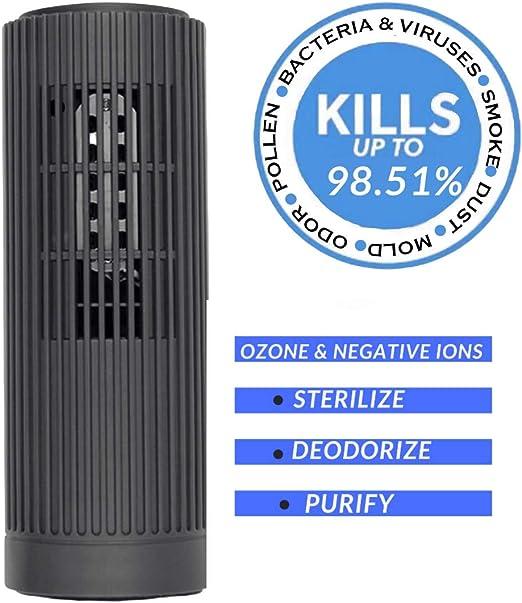PurifiedO2 purificador de aire iónico portátil – generador de ozono sin filtro | mini ionizador de aire para coche, viajes, oficina, nevera, elimina bacterias, moho, humo y olores, color gris oscuro: Amazon.es: