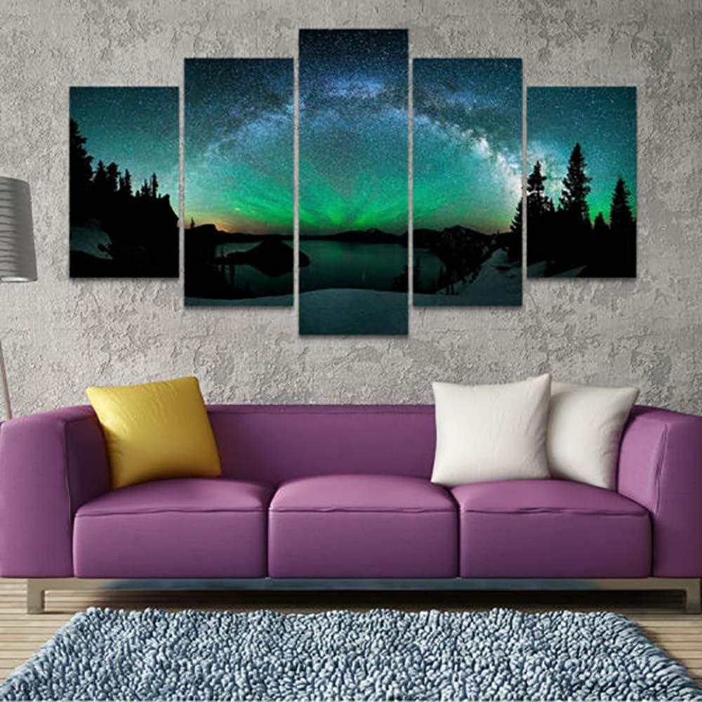 mmwin HD Imágenes de Impresión Marco Lienzo Arte de la Pared para la Sala 5 Unidades Luz Planeta Superficie Espacio Paisaje Decoración para el hogar Pintura Cartel 1 40x60 40x80 40x100cm: Amazon.es: