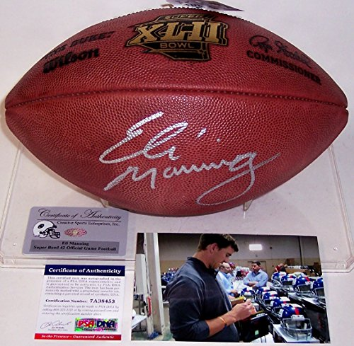 Eli Manning Autographed Hand Signed Super Bowl 42 XLII Official NFL Football - PSA/DNA