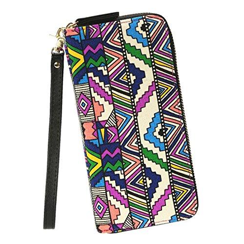 Women Wristlets Canvas Owl Wallet Zipper Purse Clutch Phone Card Holder Handbag (One Size, Multicolor)