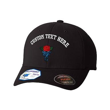 ef470816 Custom Text Embroidered Single Rose Flexfit Hat Baseball Cap at Amazon  Men's Clothing store: