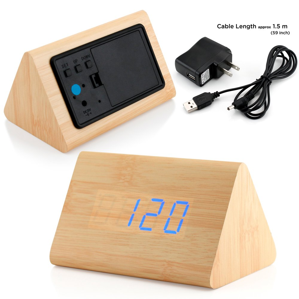 GEARONIC TM Modern Triangle Wood LED Wooden Alarm Digital Desk Clock Thermometer Classical Timer Calendar Updated 2018 Brighter LED - Bamboo