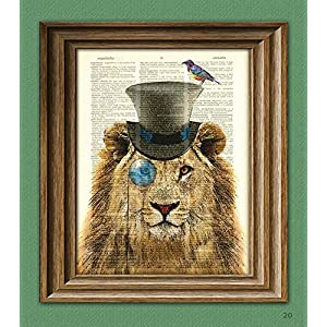 Sovereign Zebulon the Steampunk Lion With His Bird Advisor Illustration Beautifully Upcycled Dictionary Page Book Art Print