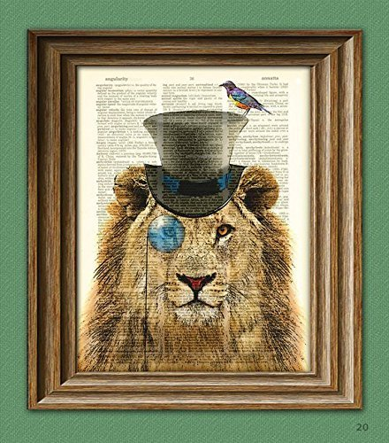 Sovereign Zebulon the Steampunk Lion with his bird advisor illustration beautifully upcycled dictionary page book art print 3