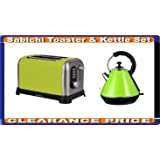 SET OF KETTLE AND TOASTER BREAKFAST LIME GREEN CLEARANCE PRICE RETRO STYLE