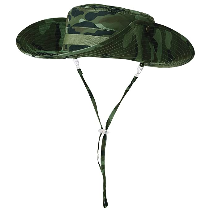 4ee91d40179 Siggi Mens Outdoor UPF 50+ Packable Boonie Hat Vented Crown Lining Womens Bucket  Cap Camo Green