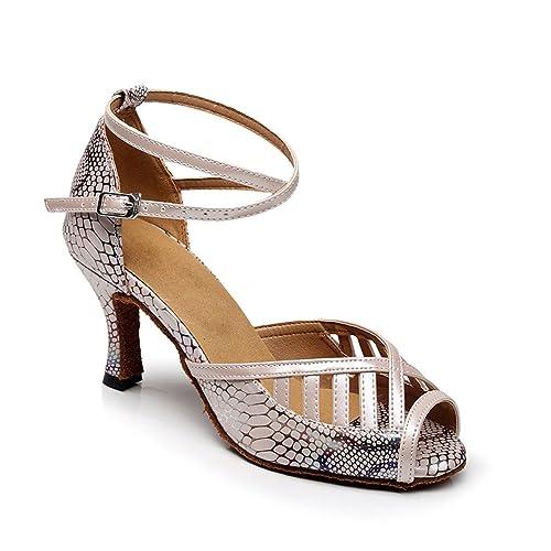 e6a8714fd80b3 Misu Women's Peep toe Sandals Latin Salsa Tango Practice Ballroom ...
