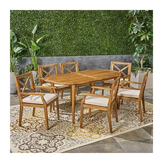 Great Deal Furniture Byrd Outdoor 7 Piece Acacia Wood Dining Set, Teak and Crème - For the aspiring homemaker, one's dining table is akin to an artist's canvas. This outdoor dining set will transform your backyard patio or dining area into your own personal veranda, making every night a special occasion. Six comfortable chairs surround an exquisitely-constructed acacia wood table. Love your neighbor, share a meal, create memories that will last a lifetime. Includes: One (1) Outdoor Dining Table and Six (6) Outdoor Dining Chairs. Cushion Material: Water Resistant Fabric. Frame Material: Acacia Wood. Fabric Composition: 100% Polyester. Cushion Color: Crème. Wood Finish: Teak. Hand Crafted Details. Some Assembly Required. - patio-furniture, dining-sets-patio-funiture, patio - 61fGiD2meaL. SS570  -