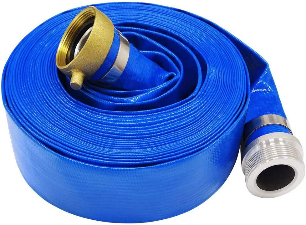"""Eastrans 1.5"""" x 50' Blue PVC Backwash Hose for Swimming Pools, Heavy Duty Discharge Hose Reinforced Pool Drain Hose with Aluminum Pin Lug Fittings"""