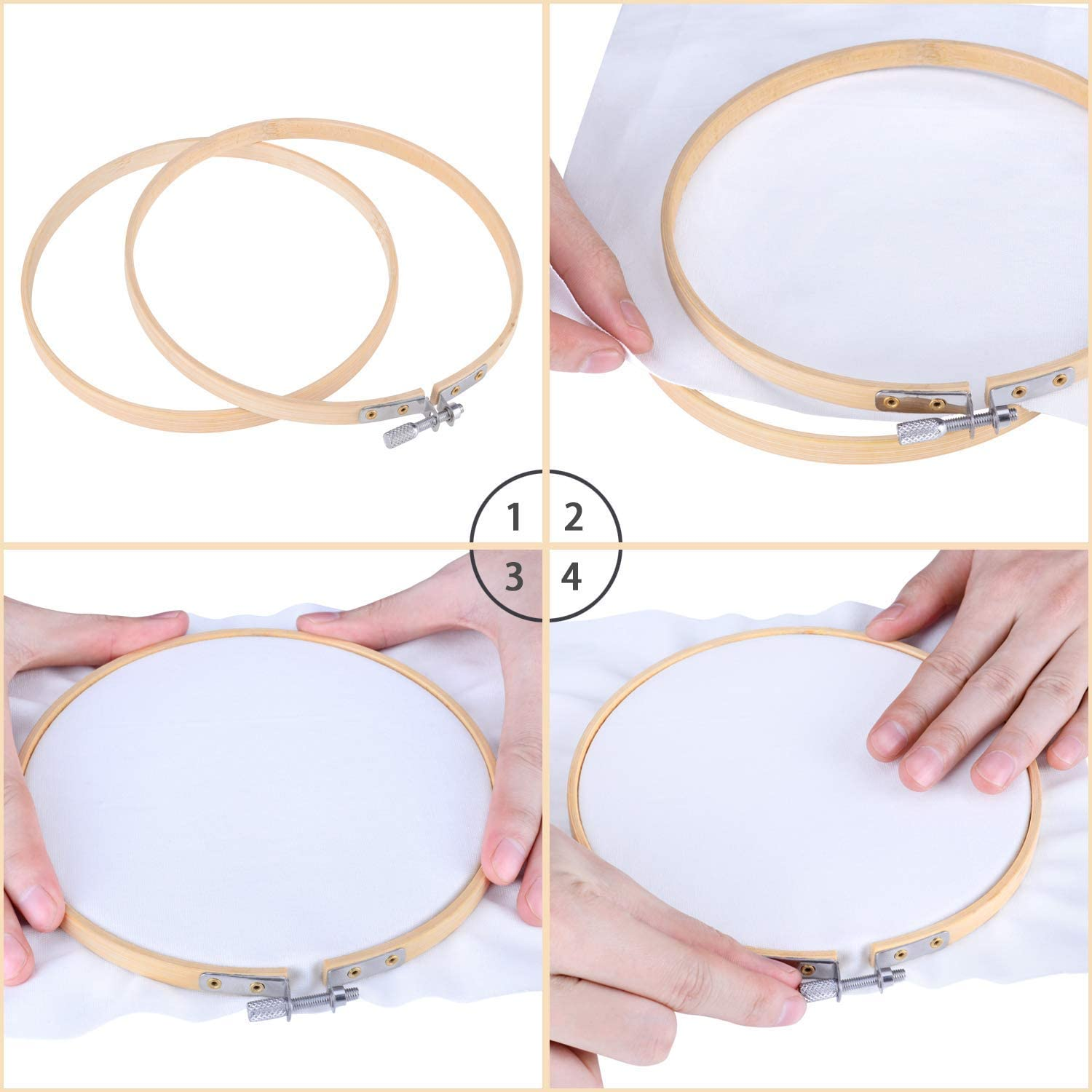 Super Show 10 Pieces 12 Inch Embroidery Hoops Wooden Round Adjustable Bamboo Circle Cross Stitch Hoop Ring for Art Craft Handy Sewing