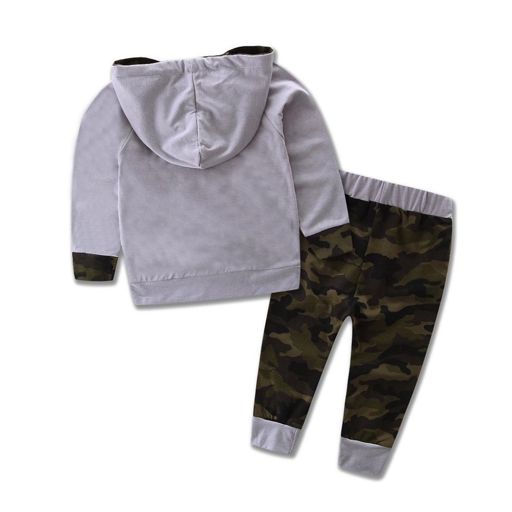 Pantaloni mimetici Outfits Reasoncool Toddler Kid Neonato Maschio Set Casual con Cappuccio Tuta da Ginnastica
