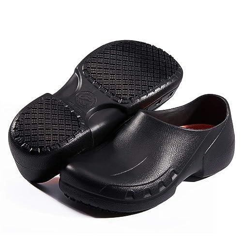 Fanture Sensfoot Slip Resistant Specialist Chef Clog Mule Restaurant Non Slip Work Shoes Black For Men Women