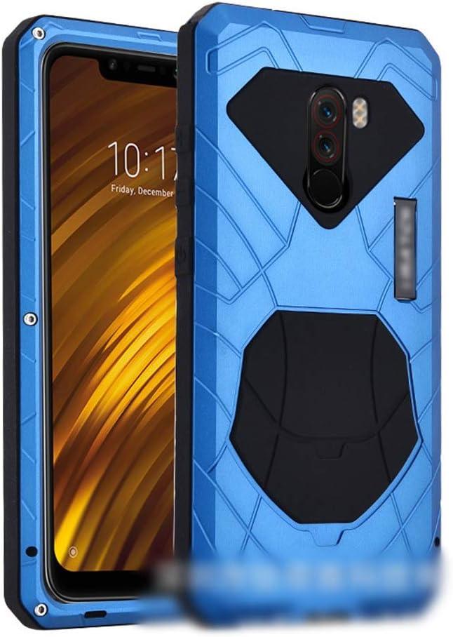 ACHAOHUIXI Xiaomi Max3、max、2,8、mix2s、mix2、mix、9、POCOPHONE F1用の3つのアンチ携帯電話シェル アンチフォール メタルシリコン保護カバー電話ケース (Color : 青, Edition : Mix2s)