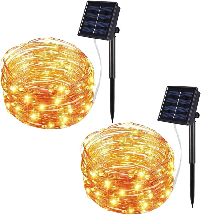 Solar String Lights Outdoor, 33Ft 100LEDs Solar Fairy Lights with 8 Lighting Modes Waterproof Decorative Copper Wire Lights for Christmas Patio Party Garden Gate Yard Wedding (Warm White, 2Pack)