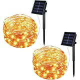 Solar String Lights Outdoor, 33Ft 100LEDs Solar Fairy Lights with 8 Lighting Modes Waterproof Decorative Copper Wire Lights f