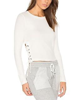 4e80bf594c81 Damen Tshirt Fashion Einfarbig mit Kreuzgurte Basic Langarmshirt Elegante  Fashion Casual Slim Fit Rundhals Frühling Herbst