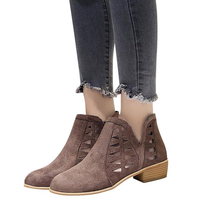 MYMYG Botas para Mujer Botines Mujer Tacon Invierno Planos Tacon Ancho Piel Botas de Mujer Black Friday Botines Cortos Botín Elegantes Zapatos Plataforma: ...