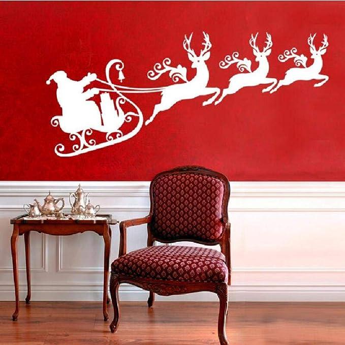 Geiqianjiumai Reno Santa Trineo Silueta Pared Pintura Navidad ...