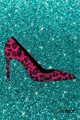 Journal: Faux turquoise glitter pink glitter leopard high heel - High Heel Notepad