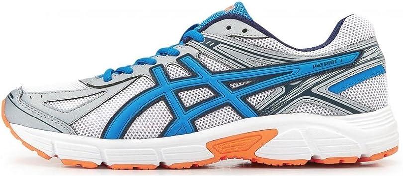 adidas Asics Patriot 7 Zapatilla de Running Caballero, Blanco/Azul/Naranja, 44 2/3: Amazon.es: Deportes y aire libre