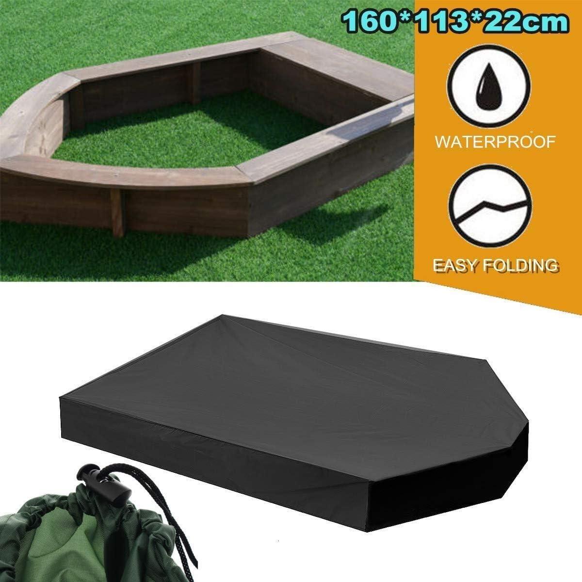 Unbekannt Liyue-Abdeckung UV-Anti Außenpatio Garten Abdeckung Staubdichtes Sandbox Persenning mit Kordelzug Wasserdicht Sandpit Pool Schutzabdeckung 160x113x22cm (Color : Black)