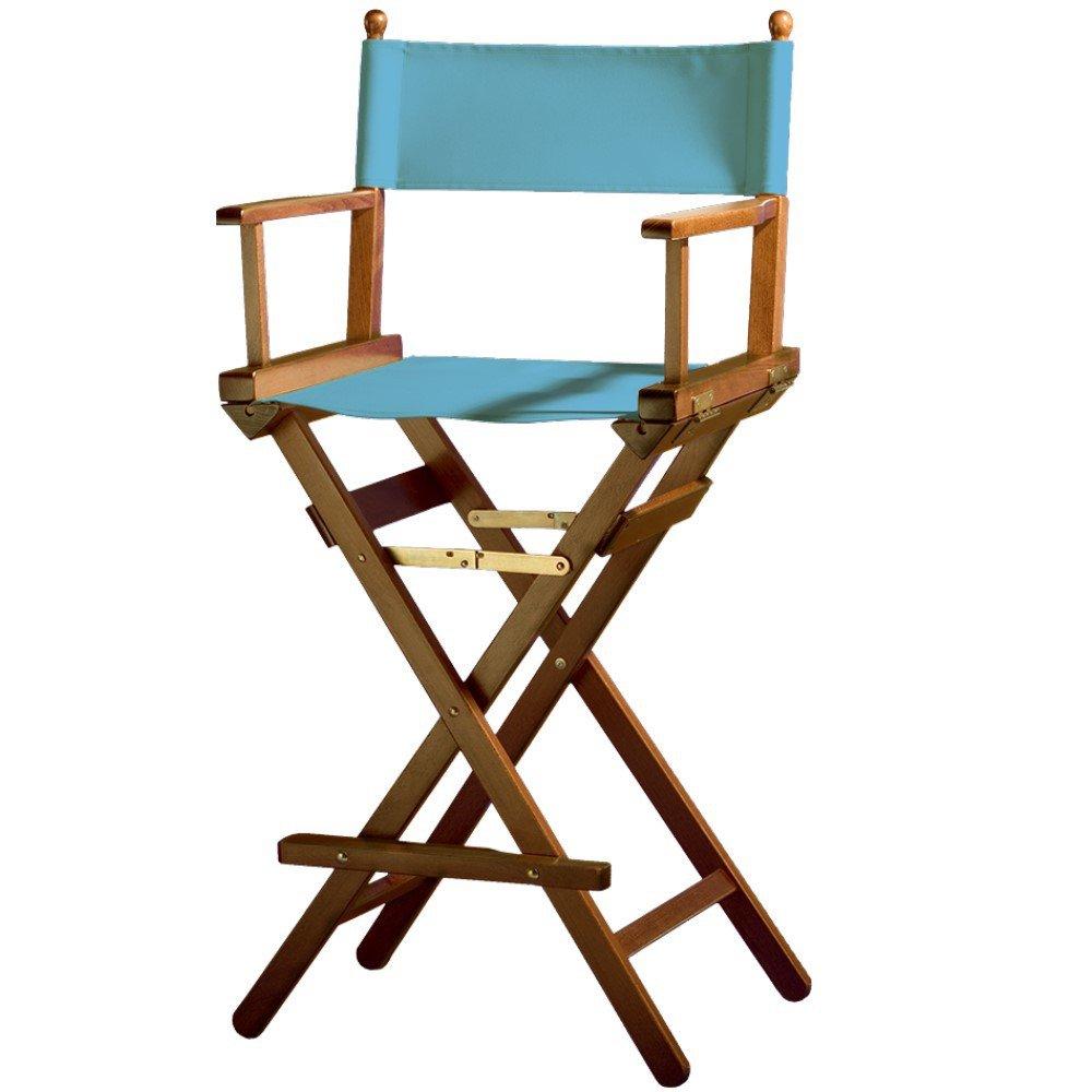 Sedia pieghevole da regista/trucco, in legno di faggio con laccatura effetto noce blu chiaro Senjo-Color