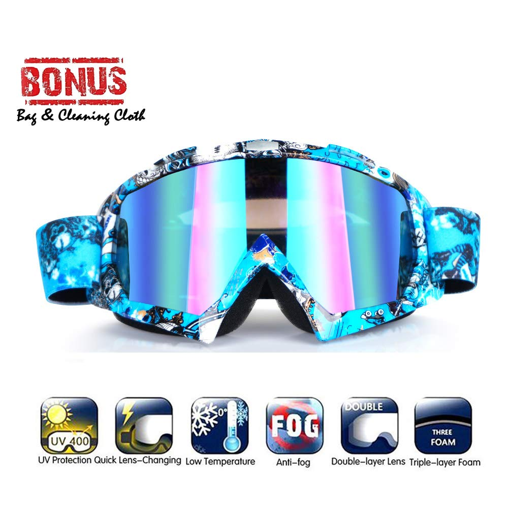 Wellovar Motorcycle Goggles,ATV Goggles Dirt Bike Ski Goggles Windproof Scratch Resistant Combat Goggles Adjustable UV Protective Safety Outdoor Glasses for Cycling, Climbing, etc (Blue) by Wellovar