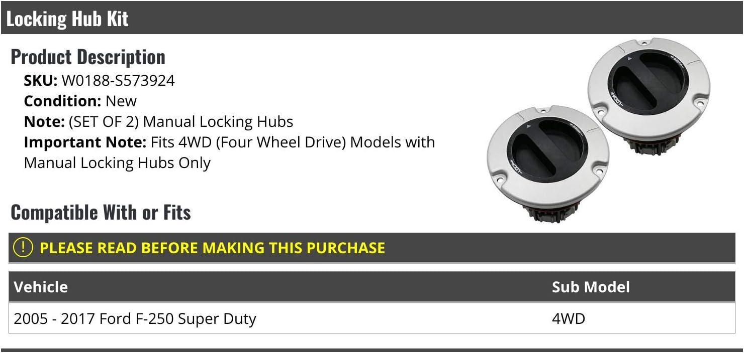 Set of 2 Manual Locking Hub Kit Compatible with 2005-2017 Ford F-250 Super Duty 4WD with Manual Locking Hubs