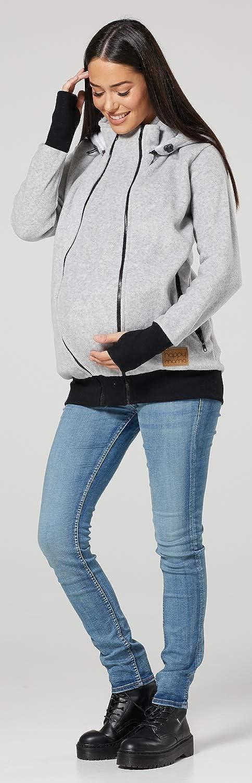HAPPY MAMA Mujer Maternidad Capucha Cremallera Pull-Over Su/éter1180
