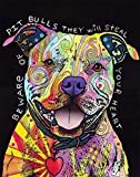 Beware of Pit Bulls by Dean Russo Animal Contemporary Dog Print Poster 13x16