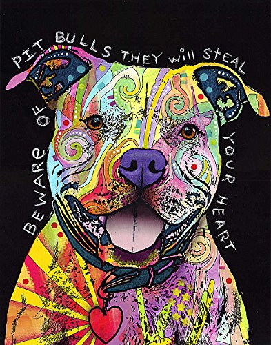 (Picture Peddler Beware of Pit Bulls by Dean Russo Animal Contemporary Dog Poster (Choose Size of Print or Canvas))